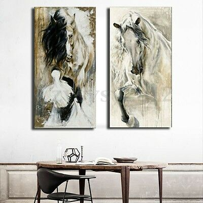 2Pcs Unframed Horse Hand-Painted Canvas Painting Print Picture Wall Decor Art