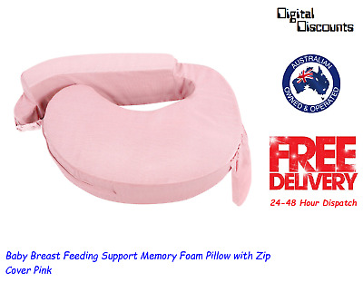 Baby Breast Feeding Support Memory Foam Pillow with Zip Cover Pink