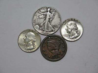 Walking Liberty Washington 50C 25C Large Cent 90% Junk Silver Mix Collection Lot