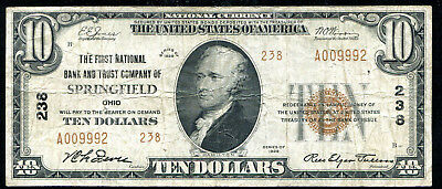 1929 $10 First Nb & Trust Co. Springfield, Oh National Currency Ch. #238