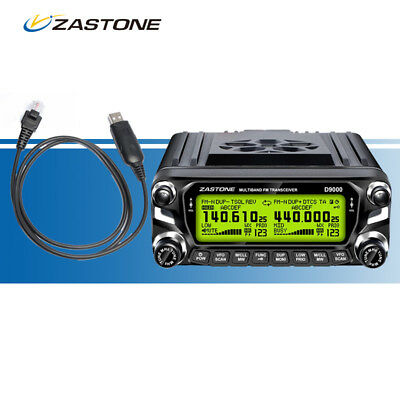 Zastone ZT-D9000 50W Car Mobile Ham FM Radio 50km VHF/UHF Walkie Talkie +  Cable