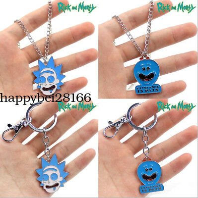 Anime Rick and Morty Pickle Rick Necklace Keychain Metal Pendant Halloween Gift