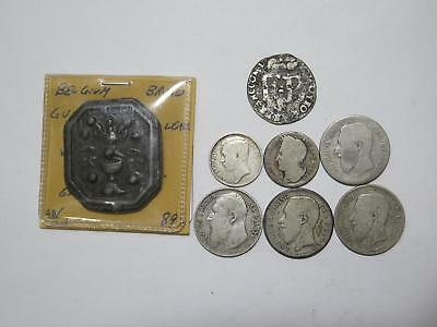 Belgium Liege Mereau Lead Francs Centimes Mixed Type World Coin Collection Lot