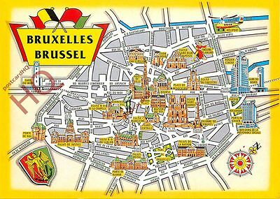 Picture Postcard~ Brussels, Map