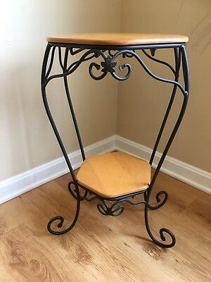 """LONGABERGER Wood & Wrought Iron Table Generations Stand 2 Tier/Shelf 24.5"""" Tall"""