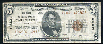 1929 $5 Tyii The First Nb At Carrollton, Oh National Currency Ch. #13883