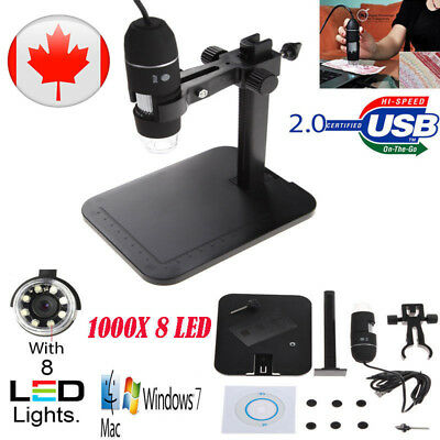 1000X 8 LED 2MP USB Digital Microscope Endoscope  Magnifier Camera+Lift Stand CA