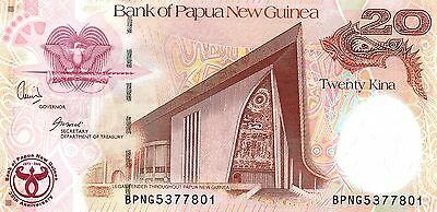PAPUA NEW GUINEA 20 Kina 2008 P36a 35 Years BPNG UNC Banknote