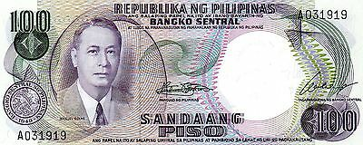 PHILIPPINES 100 Pesos ND 1969 P147a UNC Banknote
