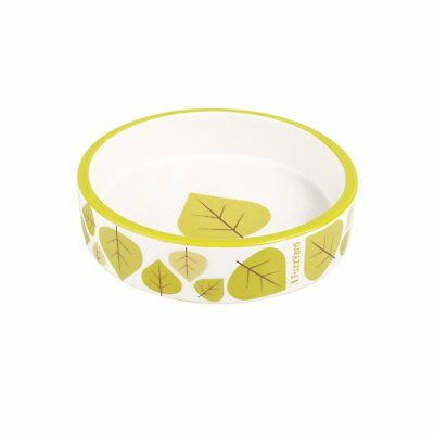 Fuzzyard Cat Bowl Fallin' Cream With Green Leaf