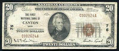 1929 $20 The First Nb Of Canton, Oh National Currency Ch. #76