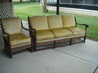 Rare Feudal Oak Sofa and Chair Set Jamestown Lounge Co Antique Vintage Carved