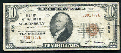 1929 $10 The First Nb Of St. Johnsbury, Vt National Currency Ch. #489