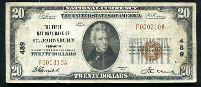 1929 $20 The First Nb Of St. Johnsbury, Vt National Currency Ch. #489