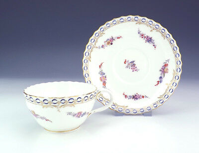 Antique English Porcelain - Flower Decorated Cabinet Cup & Saucer - Early!