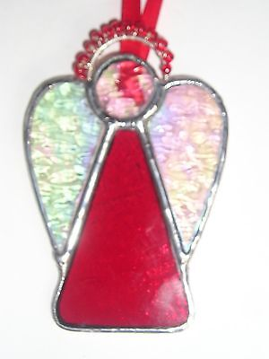 Stained Glass Guardian Angel Suncatcher Christmas Decoration Handmade in England