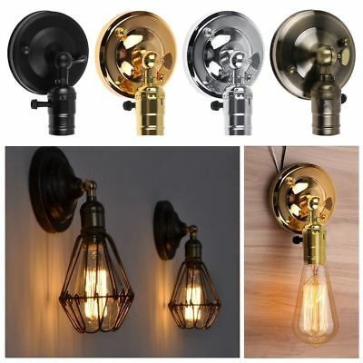 Retro Antique Industrial Wall Sconce Light Lamp Holder Bulb Socket Cage Fixture