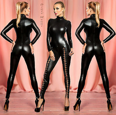 Sexy Catsuit Overall Body Party WetLook Gr. XS-S 34 36