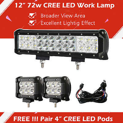 """12inch + 4in"""" CREE LED Light Bar Spot Flood Work Lamp Driving 4WD Truck Offroad"""