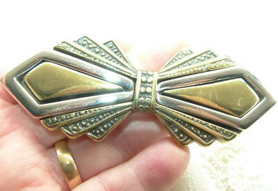 Jewellery Glossy Silver Tone Metal And Brass Metal Bow Buckle 264