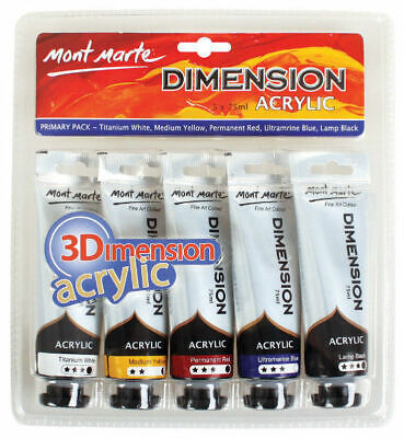 Mont Marte Paint Set - Dimension Acrylic Paint Primary Colours 5pc x 75ml