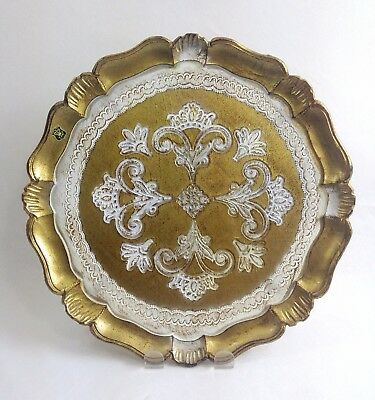 Vintage Florentine Dresser Tray Gold White Italian Toleware Shabby Chic Italy
