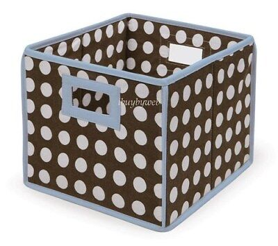BLUE BROWN POLKA DOT Nursery Basket/Storage Cube 2 Set NEW