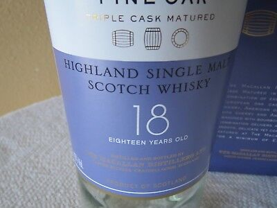 Macallan 18YO Fine Oak Highland Single Malt Scotch Whiskey Bottle & Box Empty