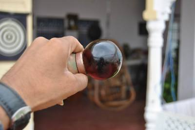 """Vintage Victorian Ruby Red Smooth Glass Entrance Mortice Door Knob Pull 2.1"""""""