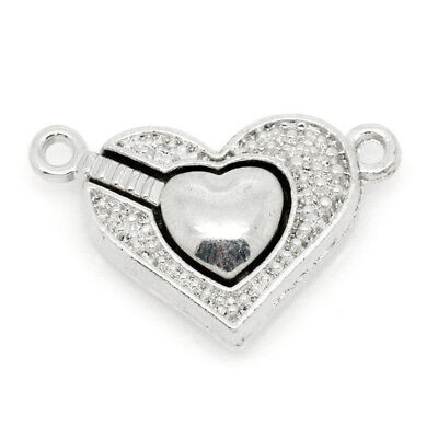 5PCs Magnetic Clasps Jewelry Findings Love Heart Silver Tone 25x16mm I3A2