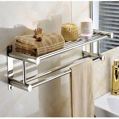Double Towel Rail Holder Wall Mounted Bathroom Rack Shelf Stainless Steel New