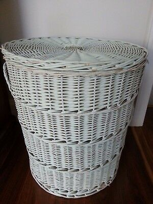 Large Cane wicker storage basket with lid for laundry linen toys fire wood