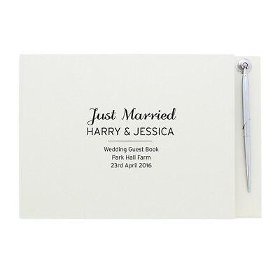 Personalise Classic Guest Book & Pen Wedding Anniversary Engagement Christening