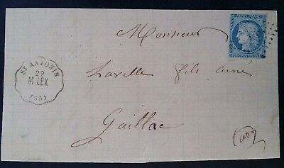 SCARCE 1871 France Folded Letter ties 25c blue Ceres stamp canc St Antonin