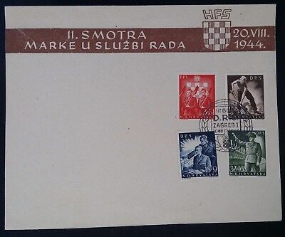 RARE 1944 Croatia State Labour Service Charity FDC ties 4 stamps canc Zagreb