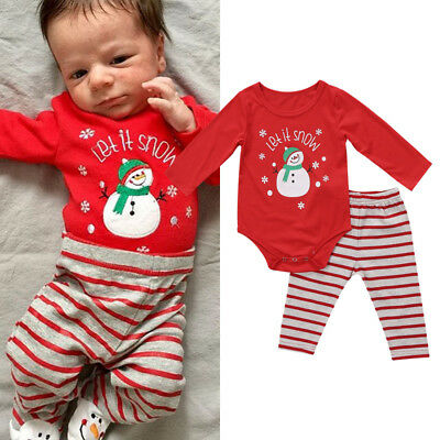AU Infant Baby Boys Snowman Romper Bodysuit Striped Pants Outfits Clothes Xmas