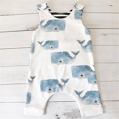 AU Stock Newborn Baby Girls Boys Whale Romper Jumpsuit Bodysuit Outfits Clothes