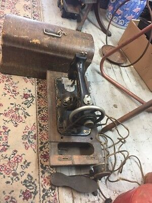 Antique Western Electric Sewing Machine With Pedal & Case Untested Rare