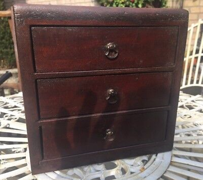 Early Vintage Antique Bank Of 3 Drawers ~ Rustic Industrial ~ Desk Top Drawers