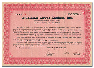 American Cirrus Engines, Inc. Stock Certificate