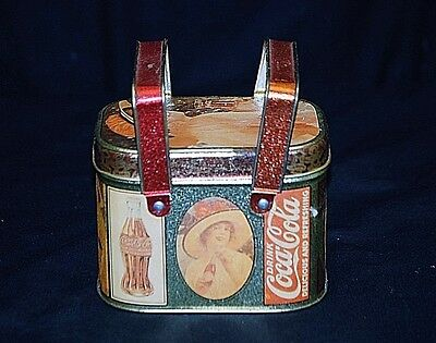 Old Vintage Bristol Ware Coca Cola Coke Litho Metal Tin Can Storage Container