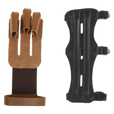 3 Straps Leather Arm Guard + Leather Three Finger Archery Gloves