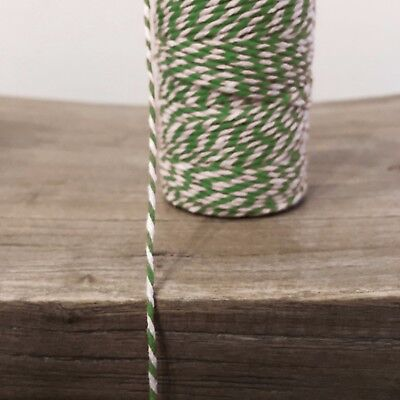2 Metres Green/White 1.5mm Striped Bunting 100% Christmas Cotton String Twine