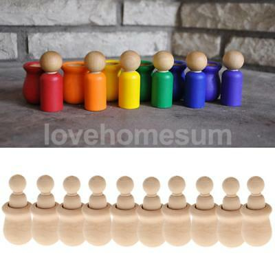 10x Unfinished Wooden Peg People Nesting Set Dolls Crafts DIY Montessori Toy