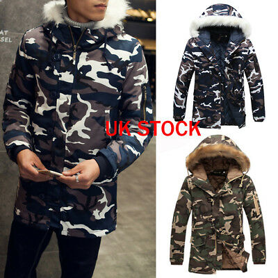 Mens Winter Thicken Camo Jacket Coat Fur Hooded Cotton Padded Warm Outwear Parka