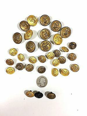 Lot of Vintage US Navy Brass Buttons WATERBURY