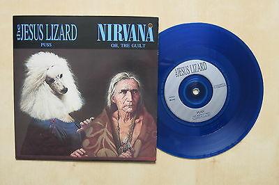 "NIRVANA Oh The Guilt / JESUS LIZARD Puss UK blue vinyl 7"" in pic sleeve Promo"