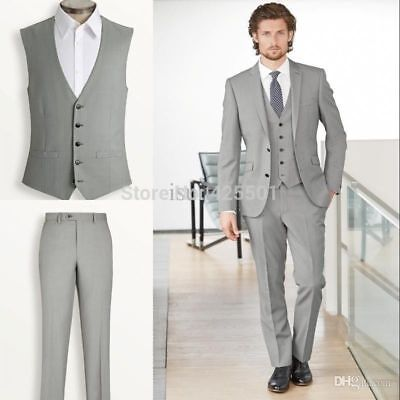 Light Grey Slim Fit Man Suit Tuxedos Formal Groomsmen Wedding Suits