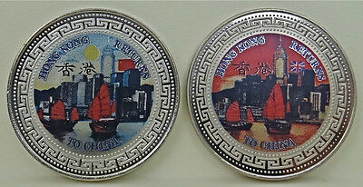 1997 HONG KONG RETURNS TO CHINA One Dollar Coin Set of 2 coins - Free Shipping