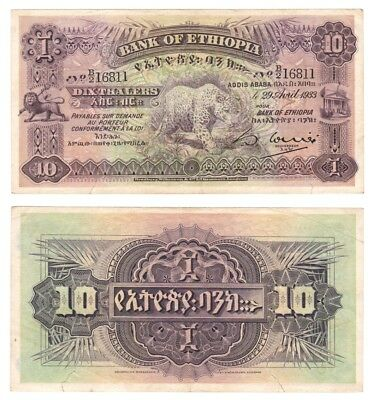 1933 BANK OF ETHIOPIA - 10 Thalers - Pick ref: 8 (Very rare)